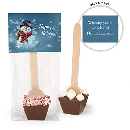 Hot Chocolate Spoons Personalized Christmas Gourmet Dark Chocolate Favors (12 Pack)