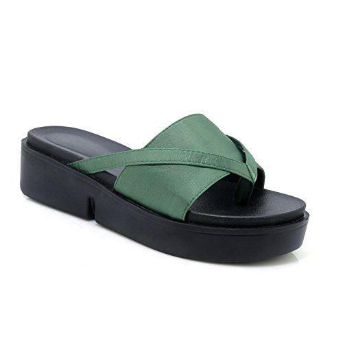 Qin&X Women's Casual Sandals Chunky HeelFlip Flop Green