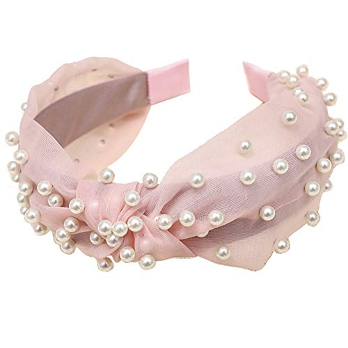 lightclub Solid Color Colorful Candy Color Summer Wide Band Sweet Women Faux Pearl Beading Twist Knotted Mesh Hair Hoop Headband Headwear Pink