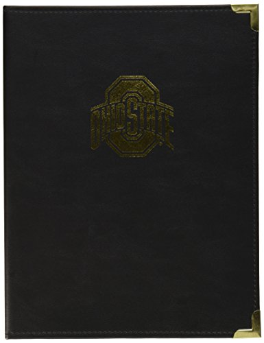 Samsill NCAA Ohio State University Buckeyes Classic Collection Business Portfolio with Brass Corners, Gold Foil Stamp Logo, Letter Size Lined Writing Pad, Black - State Classic Collection