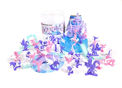 Sunny Days Entertainment Sparkle Dreamland Bucket (Assorted Mini-Figure Set - Unicorns, Fairies, Dragons, Castles & More) Toy (Mini Set Bucket)