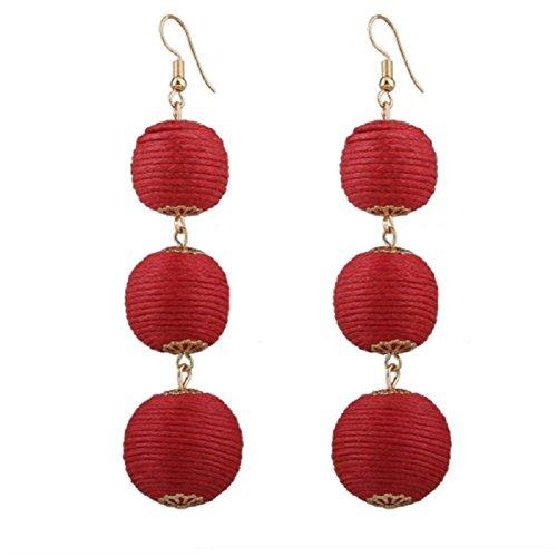 XY Fancy Women's Lantern Ball Dangle Earrings Drop Earrings Beaded Ball Ear Drop (Beaded Drop Earring Set)