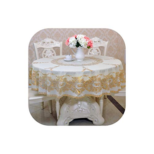 MUZIBLUE Rose Gold Plastic Round Tablecloth 2 Layer PVC Oil Proof Romantic Crochet Lace Table Covers Home Party Wedding Decoration,2,215Cm(85In) Round ()