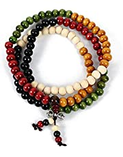 Fashion Bracelet Colorful 108 Beads Natural Sandalwood Beads Bracelet For Men Buddha beads bracelet