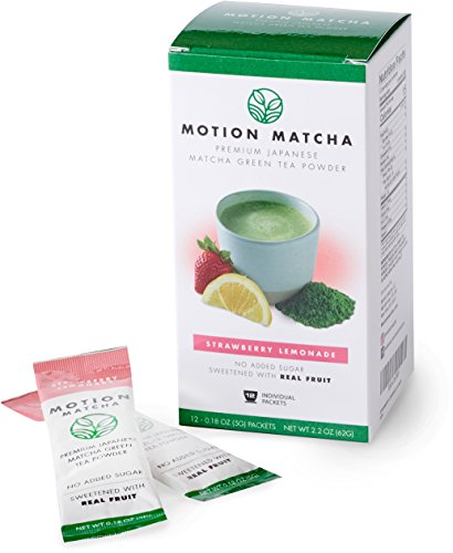 Flavored Premium Matcha Green Tea To Go, Sweetened with Real Fruit (Strawberry Lemonade) (12 single serving packets)