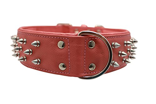 Spiked Studded Leather Dog Collar, Wide, Padded, Double-P...
