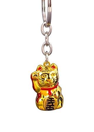 Pamai Pai® Llavero Oro Gato de la Suerte Maneki Neko Gato de Gato Suerte Colgante: Amazon.es: Juguetes y juegos