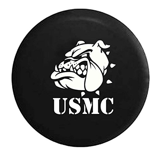 USMC Semper Fi Bulldog Military One Shot One Kill Spare Tire Cover Vinyl Black 29 in Black Ink Usmc Bulldog