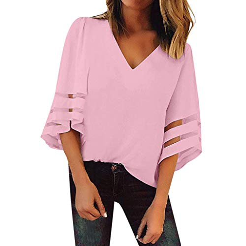 YOcheerful Women's Tops V-Neck Mesh Panel Blouse 3/4 Bell Sleeve Casual Loose Top Elegant Flowy Shirt ()