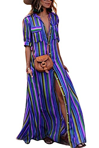 Belt Rainbow Clothing Womens Dresses (Yanekop Womens Rainbow Loose Button Down Stripes Half Sleeve Maxi Dress with Pockets(Blue,2XL))