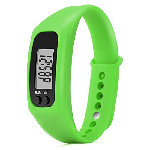 Tiean Run Step Watch Bracelet Pedometer Calorie Counter Digital LCD Walking Distance - Lcd Watch Bracelet