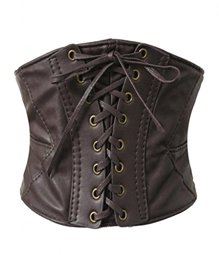 Alivila.Y Fashion Women's Faux Leather Underbust Waist Belt Corset A14-Dark Brown-M]()
