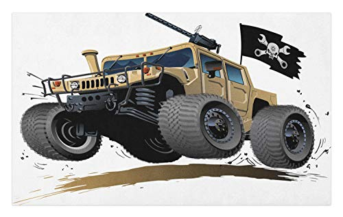 Ambesonne Cars Doormat, Worldwide Off Road Famous Safari Rally Truck with Skull Pirate Flag Camouflage Design, Decorative Polyester Floor Mat with Non-Skid Backing, 30 W X 18 L Inches, Grey Brown -