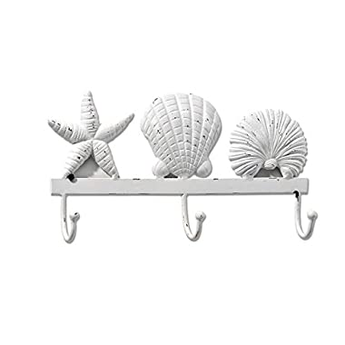 Gift Craft White Seashell Cast Iron Wall Hook