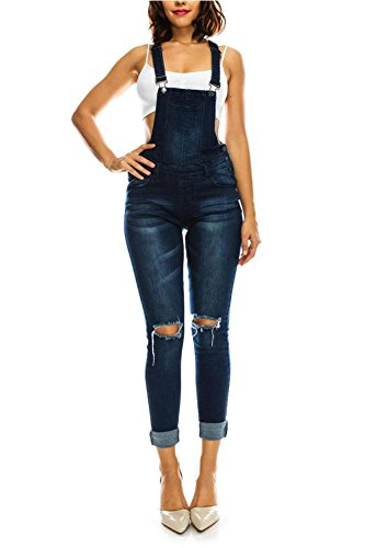 G-Style USA Women's Knee Slit Denim Overalls RJHO915 - Dark Blue - Large - - G Style Usa