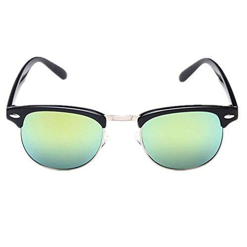 Shiratori Retro Classic Metal Half Frame Color Film Sunglasses Gold