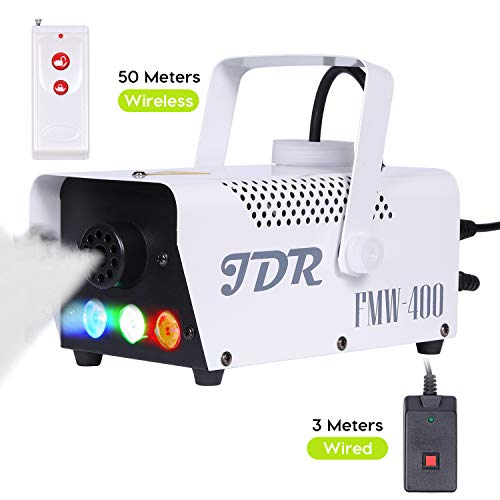JDR Fog Machine with Controllable lights, DJ LED Smoke Machine(Red,Green,Blue) with Wireless and Wired Remote Control for Holidays Parties Weddings Christmas Halloween,with Fuse Protection -