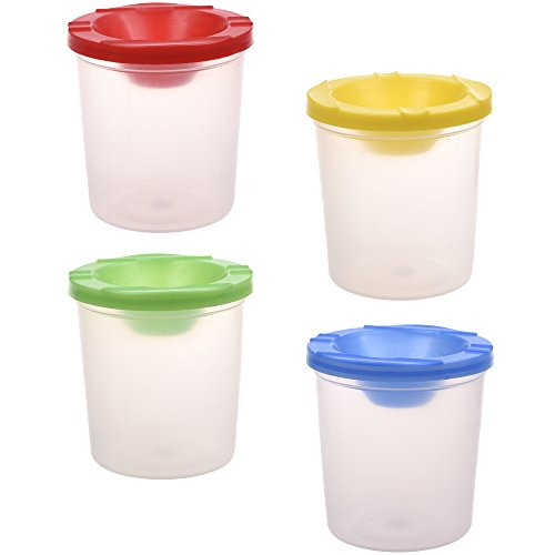 BCP Set of 4pcs Assorted Color Spill Proof No-Spill Paint Cups