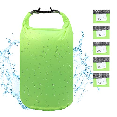 iOutdoor Products Dry Bag Waterproof 70L/40L/20L/10L/5L Lightweight Heavy Duty Dry Sack Waterproof Bags for Camping, Kayaking, Rafting, Boating, Swimming, Hiking, Beach, Fishing (Green, 70L) (Best Dry Bags For Camping)