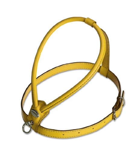 Petego La Cinopelca Soft Flat Calfskin Dog Harness, Yellow, Fits Neck 12 Inches to 14 Inches, Chest 20 Inches to 22 Inches