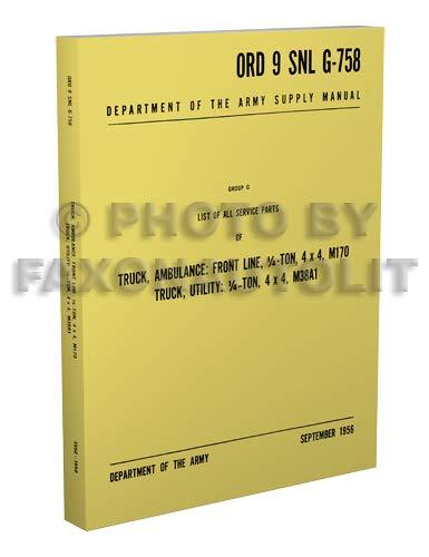 1952-1958 Military Jeep M38A1 & M170 Parts Book Reprint ORD 9 SNL G758 ()