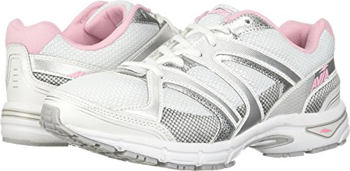 AVIA Women's Avi-Execute-II Running Shoe, White/Chrome Silver/Tickle Pink, 6.5 W US