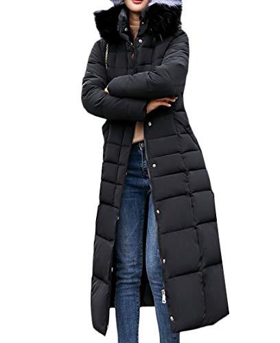 Trim Fur Thicken Jacket Warm TTYLLMAO Hooded Winter Women's Down Black pxXwI