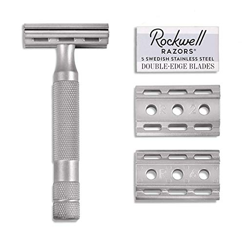 (Rockwell Razors 6S Stainless Steel Adjustable Double Edge Safety Razor + 5 Swedish Stainless Steel Razor Blades)