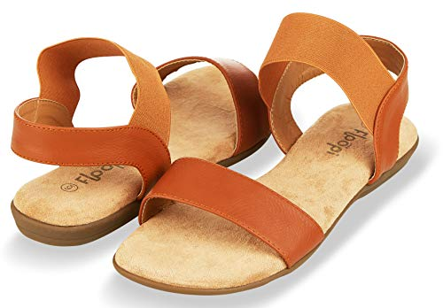 Floopi Sandals for Women | Cute, Open Toe, Wide Elastic Design, Summer Sandals| Comfy, Faux Leather Ankle Straps W/Flat Sole, Memory Foam Insole| (7, Camel-514)