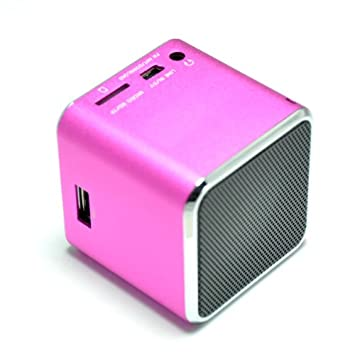 Altavoz MP3 portátil cubo para iphone, ipad, ordenador - Radio - USB - Rosa: Amazon.es: Electrónica