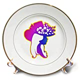 "Pretty Girl in Purple and Blue wearing hat with Flowers Plate is 7.5"" in diameter. Made of white porcelain featuring two 24k gold rims. Excellent to give as a gift commemorating a special person or event. Stand included. Decorative use only."