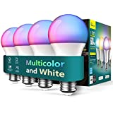 Treatlife Smart Light Bulbs 4 Pack, Music Sync Color Changing Light Bulbs, Works with Alexa, Google Assistant, A19 LED Dimmable 9W 800 Lumen Smart Bulb for Party Decoration, Smart Home Lighting