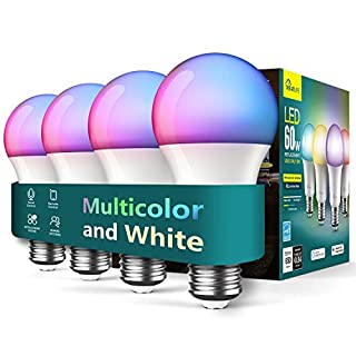 Treatlife Smart Bulb 4 Pack, Music Sync Color Changing Light Bulb, Works with Alexa, Google Assistant, A19 LED Dimmable 9W 800 Lumen Smart Light Bulbs for Party Decoration, Smart Home Lighting