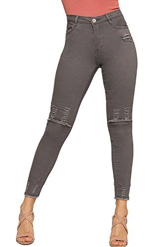WEARALL - Femmes Ripped Afflig Genou Poche Dames Maigre Jambe tendue Toile De Jeans - 34-42 Gris