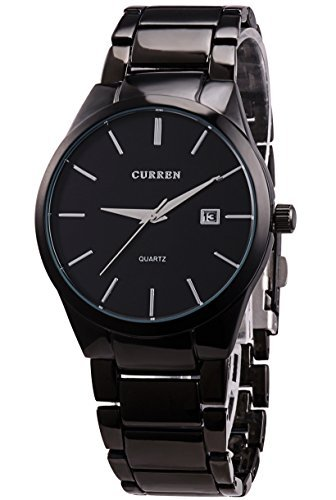 d785f0e0644 Voeons All Black Steel Band Watches for Men Classic Stainless Steel Watch  Casual Business Quartz Analog Wrist Watch with Calendar