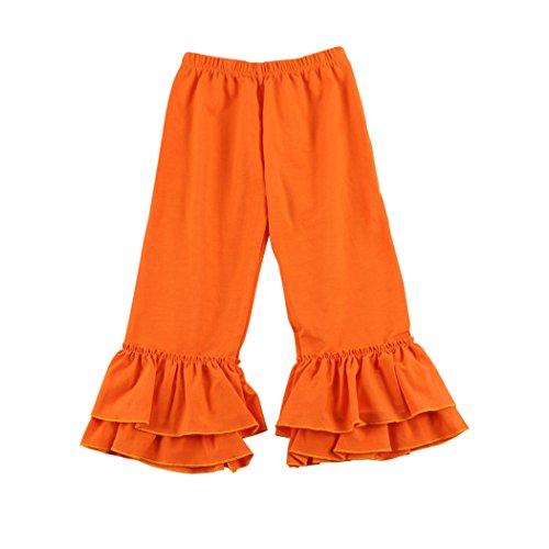 Wennikids Children's Little Girls Ruffle Soft Cotton Flare Pants Large Orange