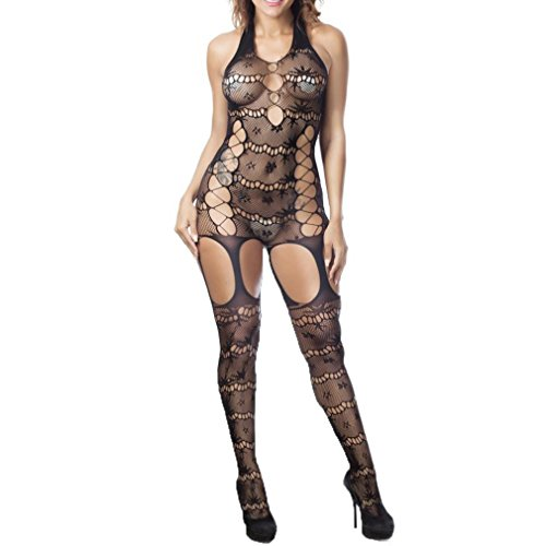 Gocheaper Women Sexy Fishnet Tight Fishnet Mesh Transparent Siamese Lingerie, Extreme Temptation Bodysuits Nightwear (Black)