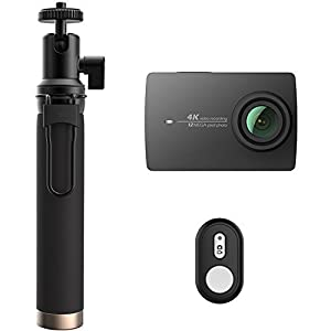 YI 4K Action and Sports Camera Selfie Stick Bundle, 4K/30fps Video 12MP Raw Image with EIS, Live Stream, Voice Control - Black