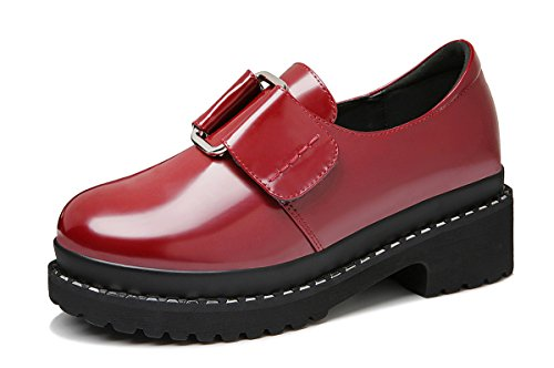 Guciheaven Mujeres Fashion Walking Zapato Plataforma De Velcro Casual Work Red