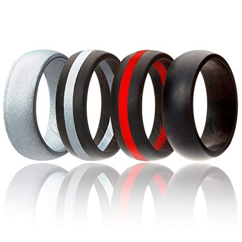 - ROQ Silicone Wedding Ring for Men, 4 Pack Silicone Rubber Band - Silver, Black, Black with Thin Red Stripe, Black with Silver Stripe, Size 14