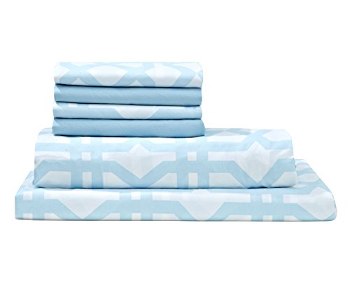 Debra Valencia Microfiber Lattice Striped Sheets By Virah Bella-King Sz-Light Blue/White-6 Pc Set 2 Bonus pillowcases!