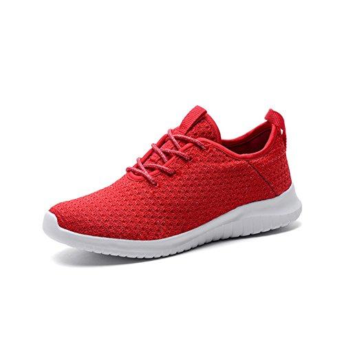 Zapatos Casuales de Mujer, Zapatillas de Deporte Primavera Verano otoño Zapatos Deportivos de Punto de Mujer Boca Baja Low Top Ladies Singles Shoes Sneakers (Color : Rojo, tamaño : 42)