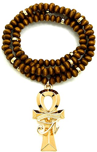 GWOOD Eye of Horus Over Ankh Pendant and Wood Bead Necklace with Inserts (Gold/Brown Small)