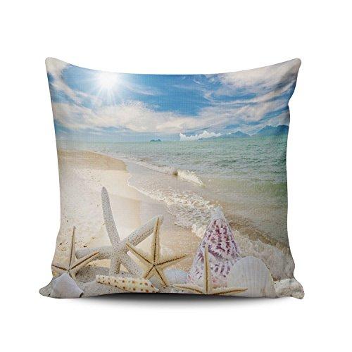 (SALLEING Custom Fashion Home Decor Pillowcase Lover Summer Seashells Starfishes Sand Beach Square Throw Pillow Cover Cushion Case 18x18 Inches One Sided Print)