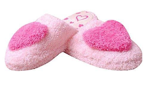 Zapatillas De Mujer De Algodón De Invierno Con Corazones De Melocotón Zapatillas De Vello Borroso (medio, Rosa Rojo) Rosa Roja