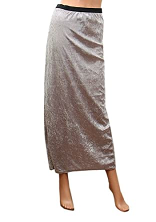 e36b83947 Matalan New Ex Ladies Crushed Velvet Long Skirt : Color - Silver : Size - 14:  Amazon.co.uk: Clothing