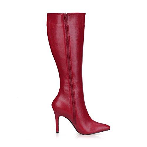 La d'hiver haut fille nouveau red The Mesdames point des grand bottes et de wine fines wine haute talon red is chaussures Boot 4qxf4wrS