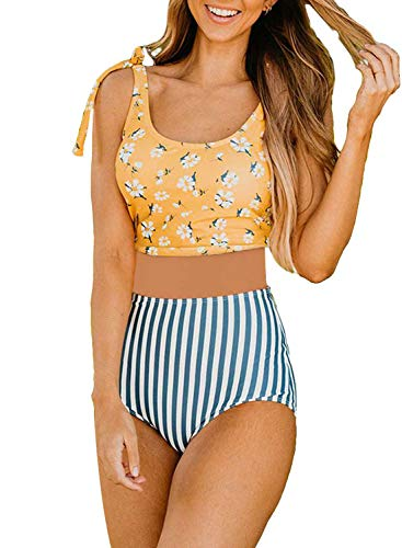 Aleumdr Womens Two Pieces Floral Print Bikini Swimsuits Tie Shoulder High Waist Bathing Suit
