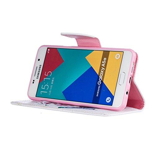 A9H Funda Samsung Galaxy A5 (2016) A510 Book Style de Cuero Sintético en Diseño Libro - Etui Case Cover Carcasa Caja Protección -01HUA 06HUA