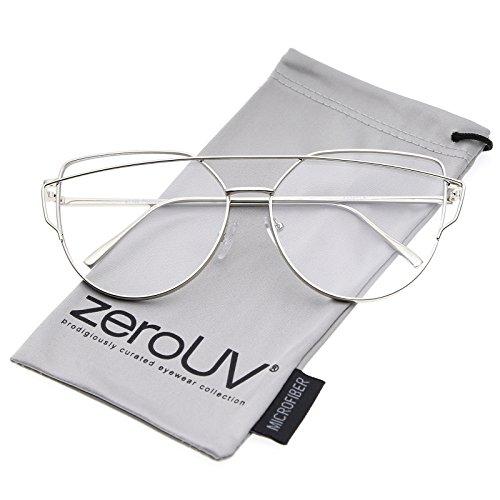 zeroUV - Oversize Metal Frame Thin Temple Clear Flat Lens Aviator Eyeglasses 62mm (Silver / - Oversized Eyeglasses Designer